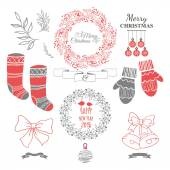 Set of christmas ornaments and decorative elements vintage ribbon labels frames badge stickersChristmas wreath Socks for gifts and warm gloves