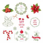Set of christmas ornaments and decorative elements vintage banner ribbon labels frames badge stickers Christmas wreath
