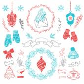 Set of christmas ornaments and decorative elements vintage ribbon labels frames badge stickers Christmas wreath