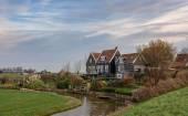 Look at a hamlet on the island Marken, Netherlands.