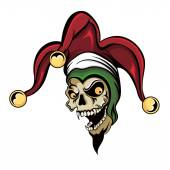 Vector fantasy illustration of a laughing angry joker vampire zombie skull wearing a clown jester cap with three gold bells
