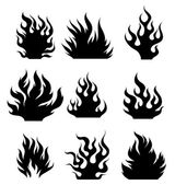 Set og black and white fire design elements for tattoo