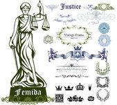 Insieme dei simboli di giustizia, ornamenti e illustrazione di Femida - dea della giustizia
