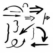 Hand drawn vector arrows set