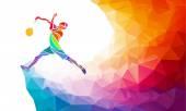 Badmintonové sportovní Pozvánka plakát nebo leták pozadí s prázdný prostor, šablona nápisu ve stylu moderní abstraktní barevné mnohoúhelník s rainbow zpět