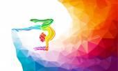 Kreativní silueta gymnastika dívky. umělecké gymnastice s míčem, vektorové ilustrace nebo šablona nápisu ve stylu moderní abstraktní barevné mnohoúhelník s rainbow zpět
