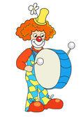 Clown banging a big bass drum