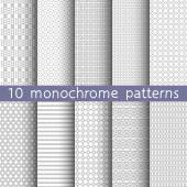 10 monochrome seamless patterns for universal background Gray and white colors Endless texture can be used for wallpaper pattern fill web page background Vector illustration for web design