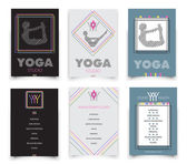 Cards template for yoga studio  vector illustration with logo