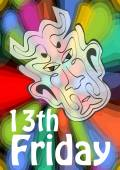 Friday 13th 13 Friday unlucky day with devil head on psychedelic colorful background Devil symbol of evil and misfortune terrible devil head
