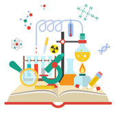 Vector illustration of open book with science elements on white background