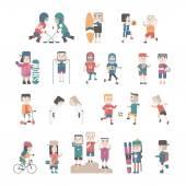 Sport ed icone piane di salute persone, gente gioca, sport, yoga, bici da corsa, fitness, nuoto immagine vettoriale