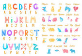 Set of cartoon alphabet characters with animals