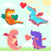 Set of four cute dragons
