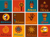 Vector set of stylized African and Safari elements and icons Flat illustration