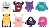 Funny Colored Characters Monsters Vector flat illustration
