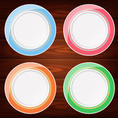 Collection of 4 light colored plates Vector image can be used for food menu or posters design web or other crafts