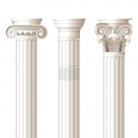 Постер, плакат: 3 columns in different styles, холст на подрамнике