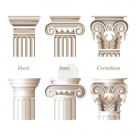 Постер, плакат: Columns in different styles, холст на подрамнике
