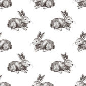 Seamless pattern with hand drawn vector rabbit
