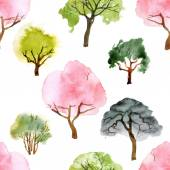 Watercolor trees seamless pattern