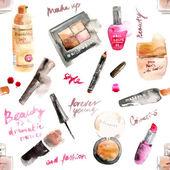 Glamorous make up watercolor cosmetics background