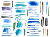 Large set of colorful watercolor brush strokes