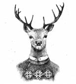 Hand drawn deer in kneated sweater