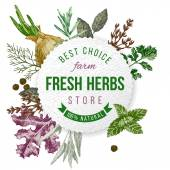 Round emblem with type design, herbs  and spices