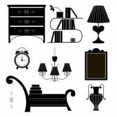 Soubor nábytku v retro stylu v podobě siluety