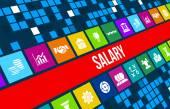 Gehalt-Konzept-Bild mit Geschäfts-Ikonen und Exemplar