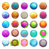 Big set of cartoon round buttons vector gui assets collection for game design