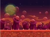 Scary another world vector seamless background for game design separated layers for parallax effect alien planet outdoor landscape in red colors