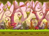 Fantasy cartoon forest seamless landscape ready for game animation vector game background with separated layers for parallax effect game design asset cool fantastic nature background