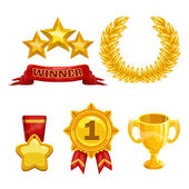 Award and trophy icons set isolated vector golden elements