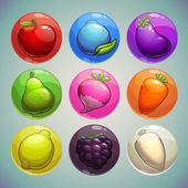 Set of colorful bubbles with fruits and vegetables icons game assets