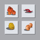 On a gray background depicts a set of icons with fruits and vegetables