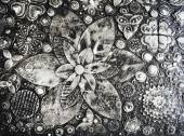 Black and white grunge flowers painting,