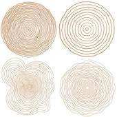 Set of four tree rings icons concept of saw cut tree trunk forestry and sawmill Isolated on white background Logo design trendy modern vector illustration