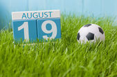 August 19th. Image of august 19 wooden color calendar on green grass lawn background with soccer ball. Summer day. Empty space for text