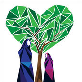 A middle eastern mother and a daughter under a heart shaped tree of love concept