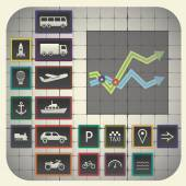 17 infographic elements with graph background including transport symbols
