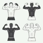 Boxen und Kampfsport Logo, Abzeichen oder Bezeichnung im Vintage-Stil