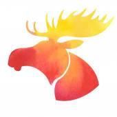 Moose headWatercolor silhouette