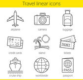 Travelling linear icons set Airplane camera lugagge credit cards island tickets cruise ship worldwide and passport symbols Thin line Isolated vector illustration