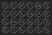 Sketch medical linear icons set Vector clip art illustrations isolated on black