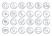 Sketch medical linear icons set Vector clip art illustrations isolated on white