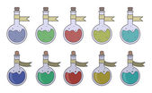 Magic potions set Fantasy game resources Vector clip art illustrations isolated on white