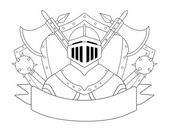 Medieval knight logo Helmet armor mace axes shields sign Vector contour lines clip art illustration isolated on white