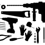 Постер, плакат: Construction tools silhouettes set